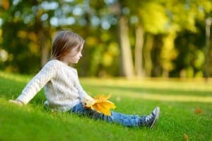child, autumn, contemplative