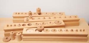 Montessori materials, control of error, cylinder blocks