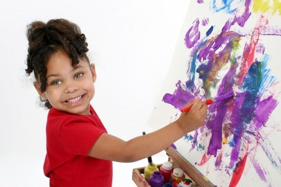 She'd paint all day if you'd let her. And why not? She's developing the skills that will help her learn to write.