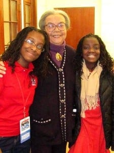 Abigail (left) with Civil Rights activist Marian Edelman (courtesy)