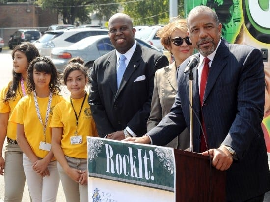 Dr. Bernard A. Harris from the Harris Foundation, speaks at the RockIt! press conference at Marshall Middle School (Dave Rossman photo)
