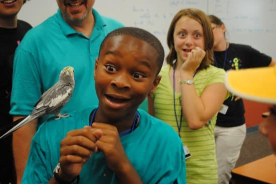 A ExxonMobil Bernard Harris Summer Science Camp student at Trine University experiencing a bird up close and personal. (courtesy)