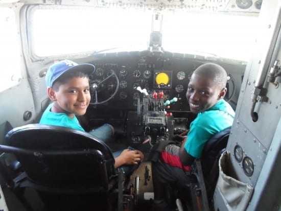Technology Field Excursion - Central State University, Uziel and Keyron sit the cockpit of a DC-3 (courtesy)