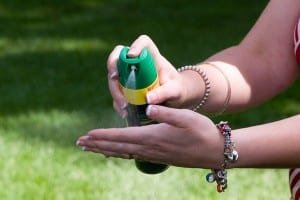 Don't spray repellent directly to the face, but put it on your hand and then pat it onto your face
