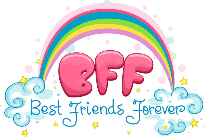 "Cartoon Rainbow above ""BFF"" Best Friends Forever"