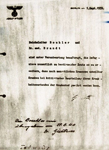 "Hitler's letter granting permission to engage in euthanasia of ""incurably sick patients."""