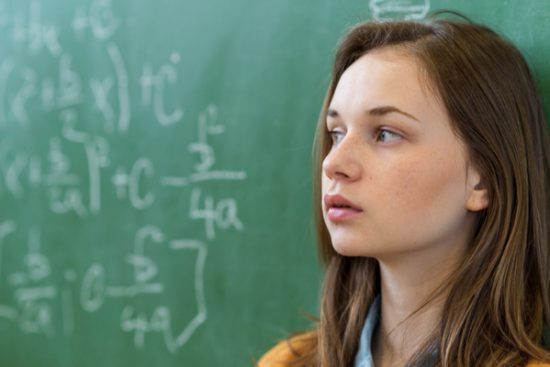 Girl with math anxiety dyscalculia