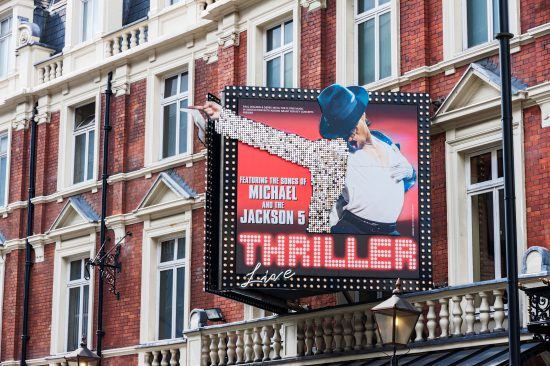 Sign for Thriller, a London show, which has lost its backing since Leaving Neverland, the documentary
