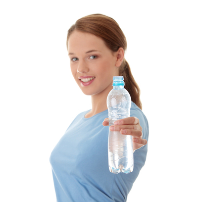 Girl holds out water bottle