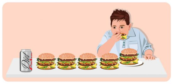 Overweight boy looks at diet soda at the end of a row of cheeseburgers