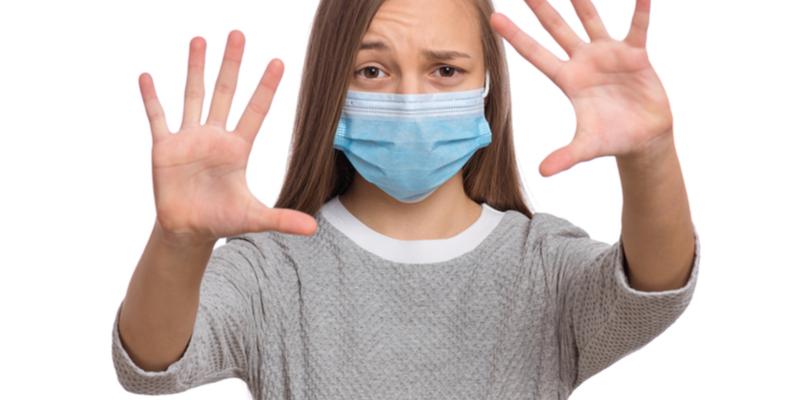 Girl under coronavirus lockdown